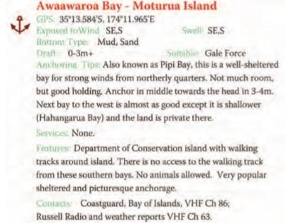 Awaawaroa Bay - Moturua Islands Text