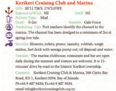 Kerikeri Cruising club And Marina Text