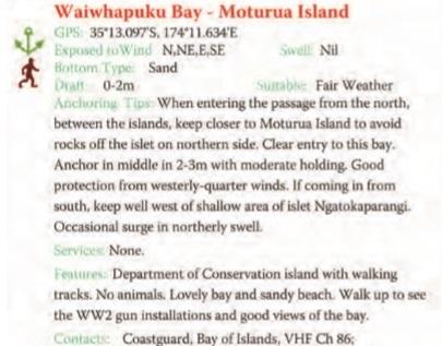 Waiwhapuku Bay - Moturua Island Text